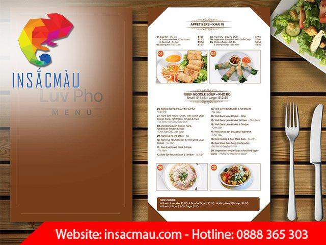in menu chất lượng tại in sắc màu