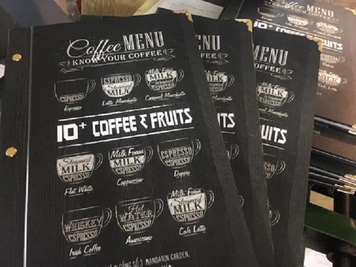 in menu cà phê đẹp