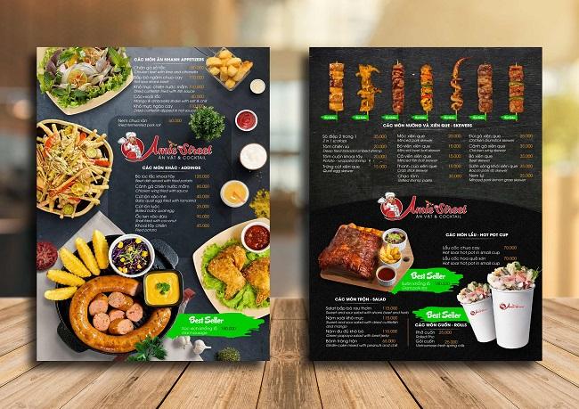 in menu nhà hàng chuyên nghiệp