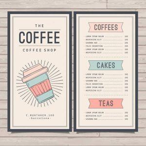 In menu quán cà phê