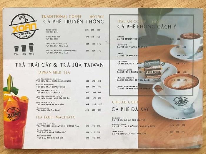 mẫu in menu cho quán cà phê