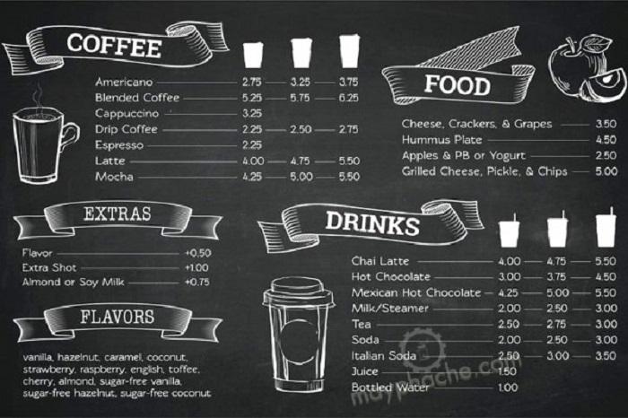 in menu quán cà phê giá rẻ