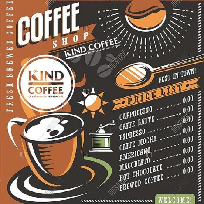 in menu quán caffe