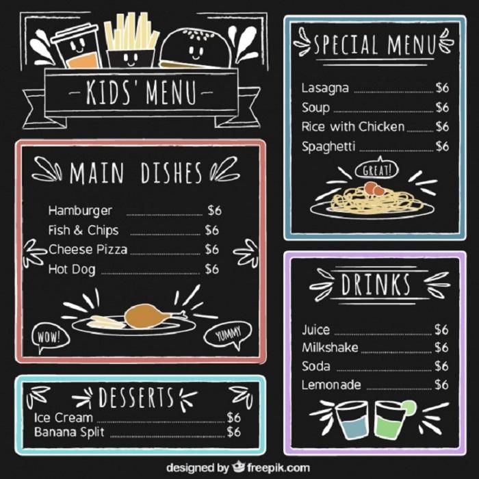in menu cho quán cà phê