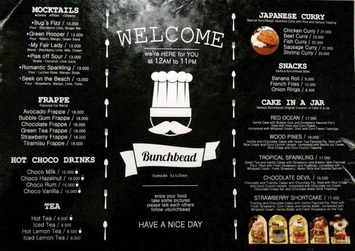 in menu cà phê
