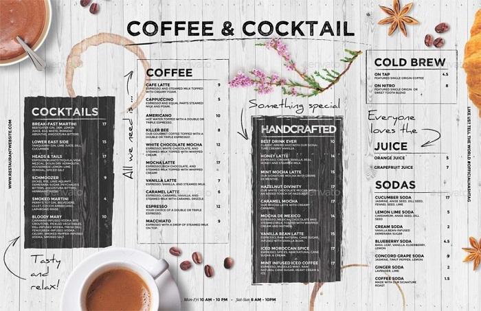 in menu cà phê chất lượng