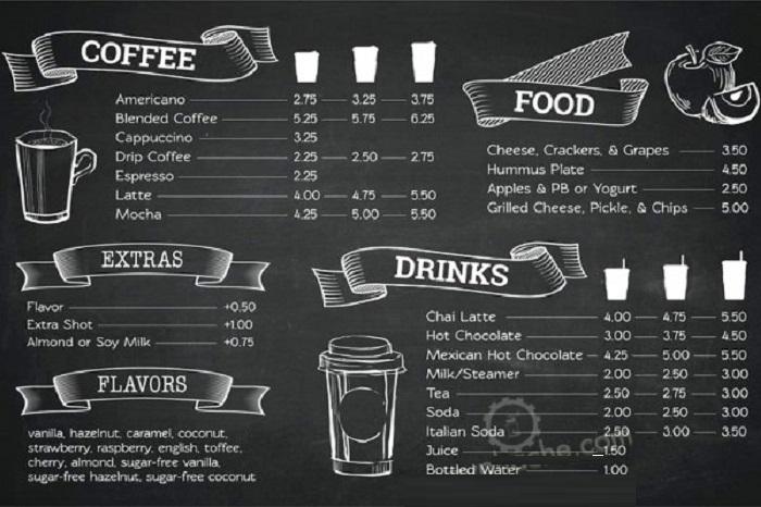 in menu cà phê giá rẻ