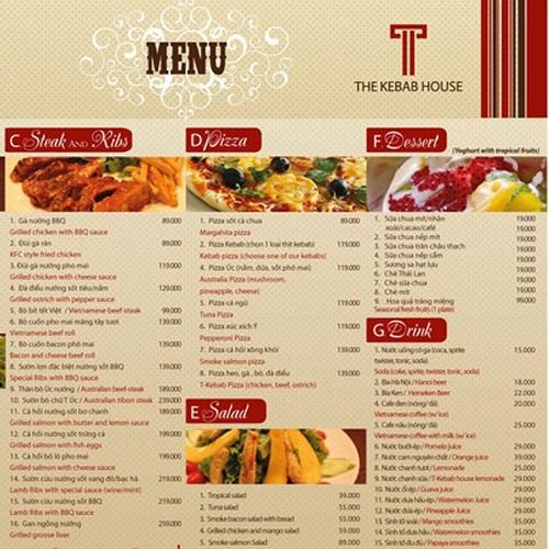 Mẫu menu quán nhậu giá rẻ