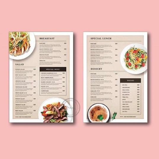 mẫu menu quán ăn cao cấp