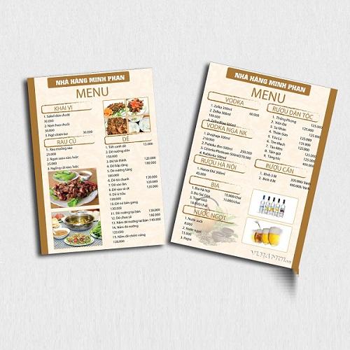 mẫu menu quán ăn đẹp mắt