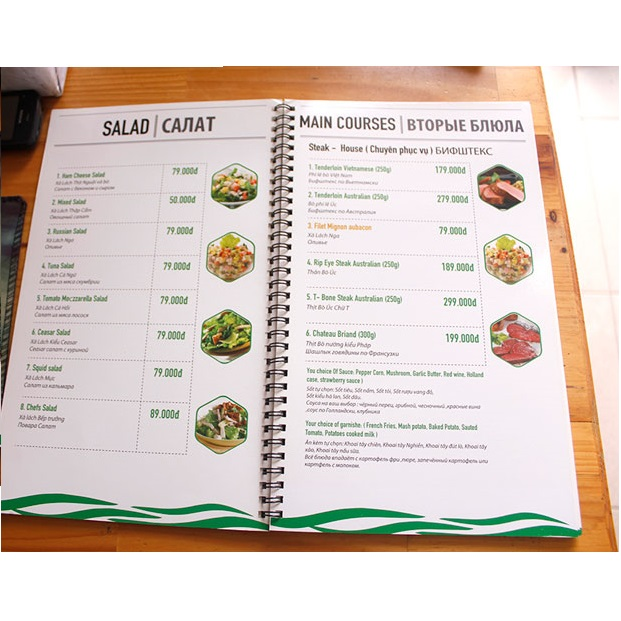 mẫu menu quán ăn hcm