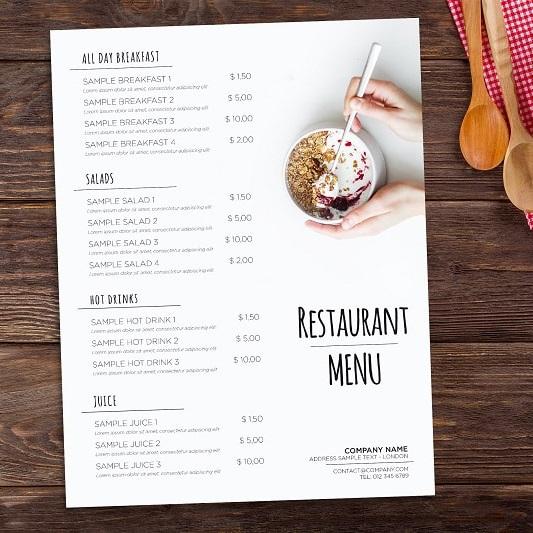 mẫu menu quán ăn bắt mắt