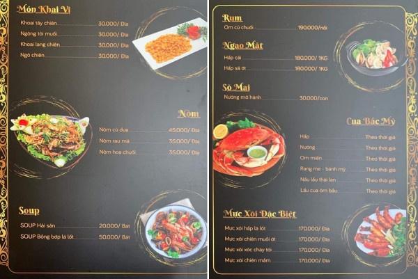 những mẫu menu quán ăn hcm
