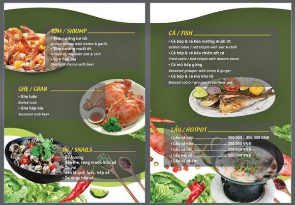 menu quán nhậu đẹp bắt mắt