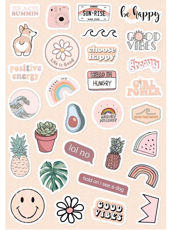 mẫu sticker cute dán sổ