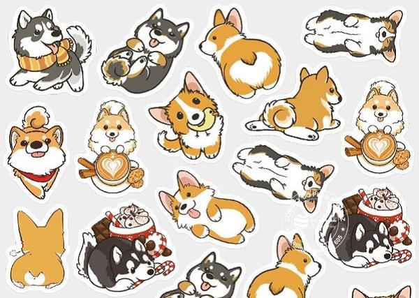 mẫu sticker cute cún con