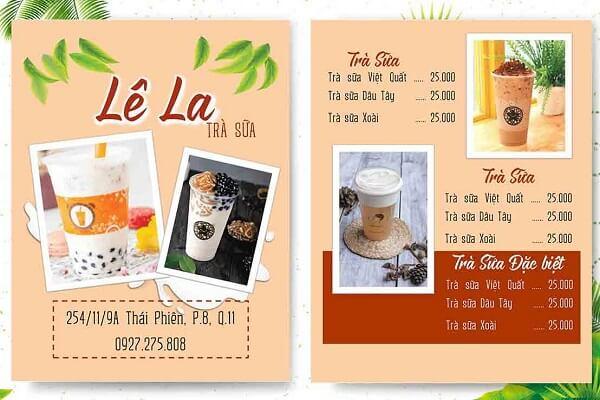 mẫu menu trà sữa chất lượng hcm