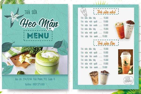 mẫu menu trà sữa tphcm