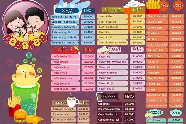 mẫu menu trà sữa chất lượng