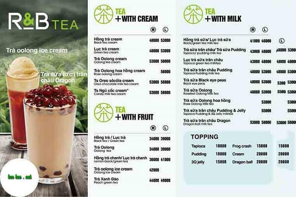 mẫu menu quán trà sữa ấn tượng