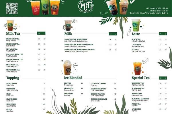 mẫu menu trà sữa chất lượng tại in sắc màu