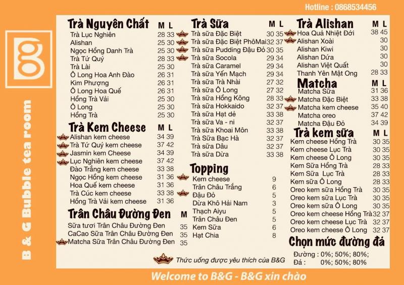 mẫu menu trà sữa đẹp