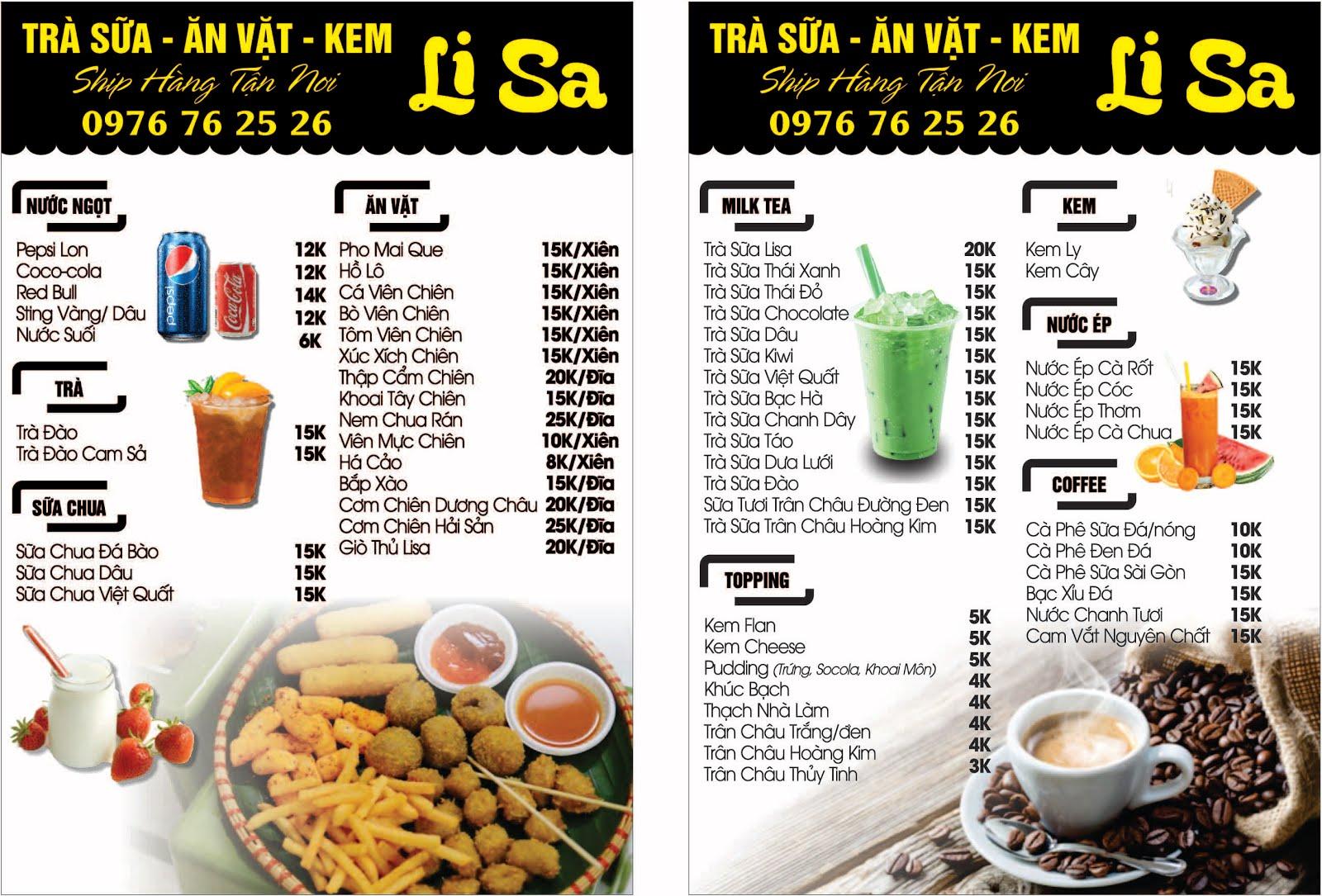 mẫu menu trà sữa