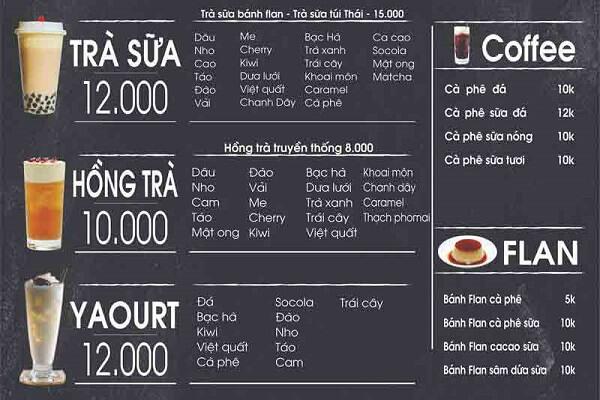mẫu menu trà sữa ấn tượng