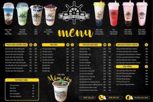 in menu quán trà sữa đẹp