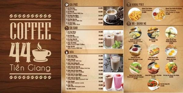 mẫu menu quán cafe đẹp tại tphcm
