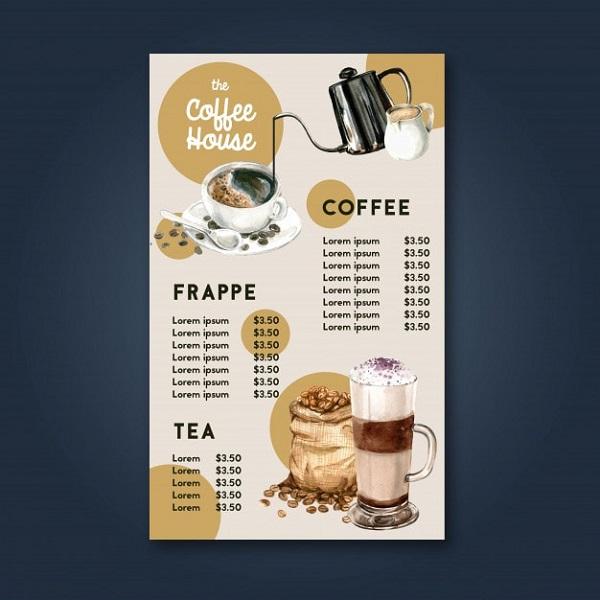 mẫu menu quán cafe giá rẻ đẹp
