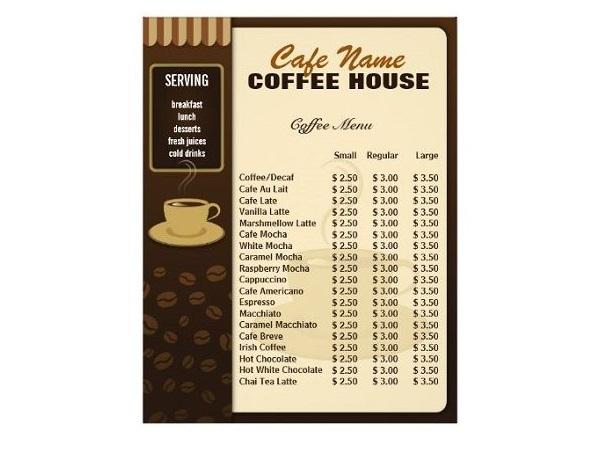 mẫu menu quán cafe rẻ