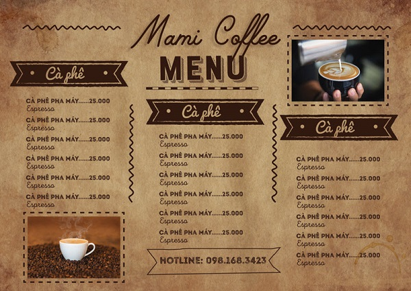 mẫu menu quán cafe ấn tượng