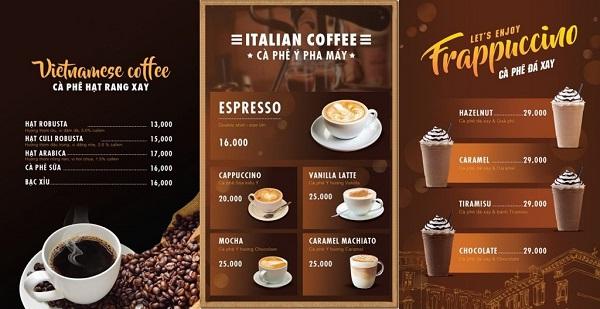 mẫu menu quán cafe cao cấp