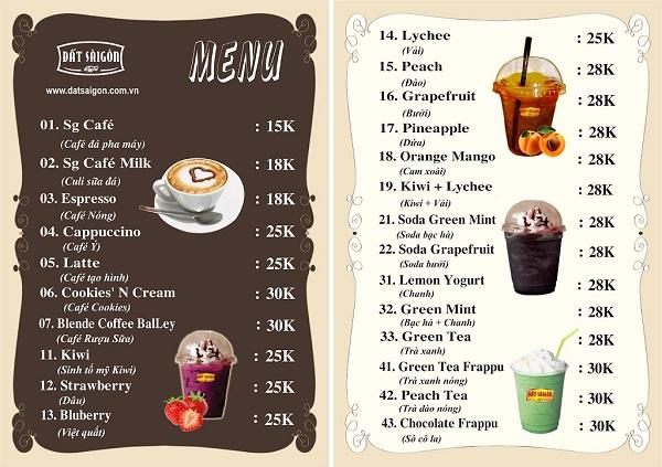mẫu menu quán cafe thu hút