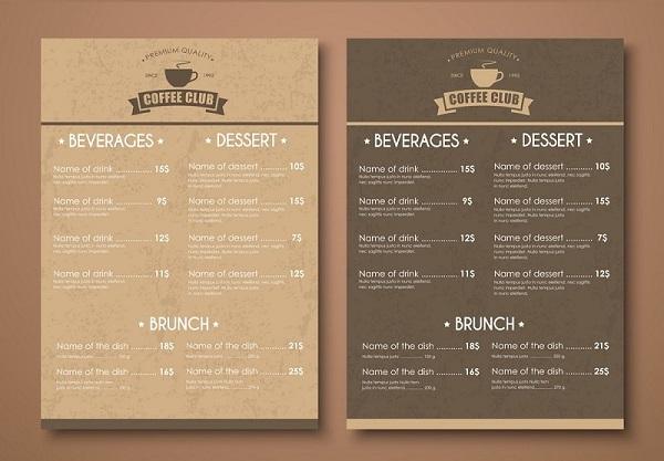 mẫu menu quán cafe bắt mắt