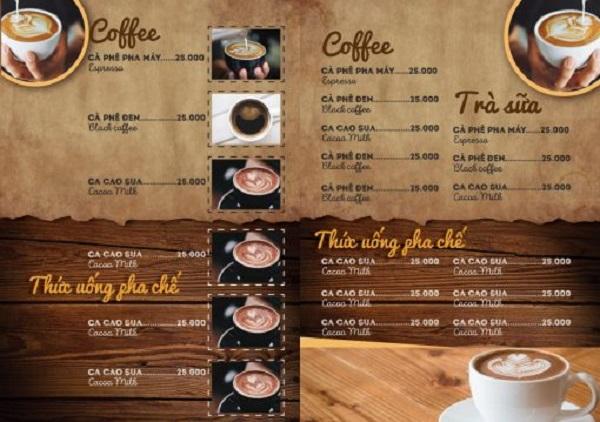mẫu menu quán cà phê hcm