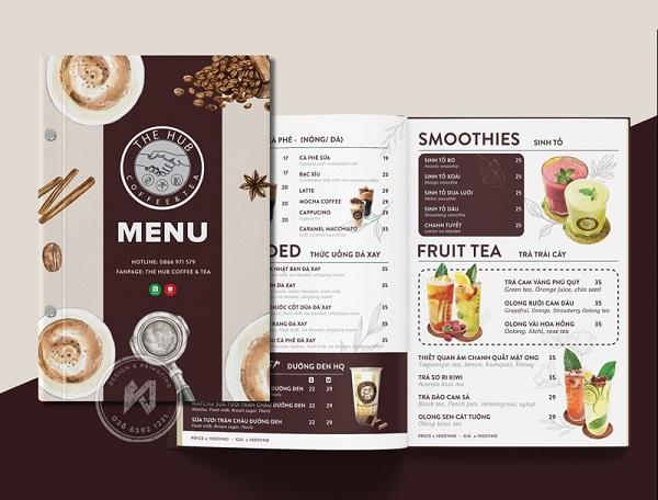mẫu menu quán cà phê đẹp tại tphcm