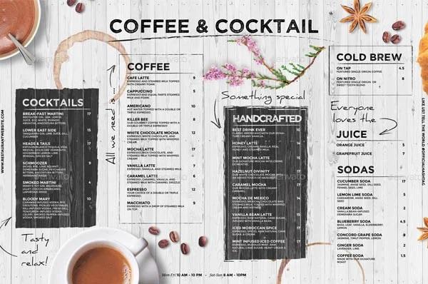 mẫu menu quán cà phê có lợi ích gì