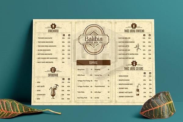 mẫu menu quán cà phê cao cấp