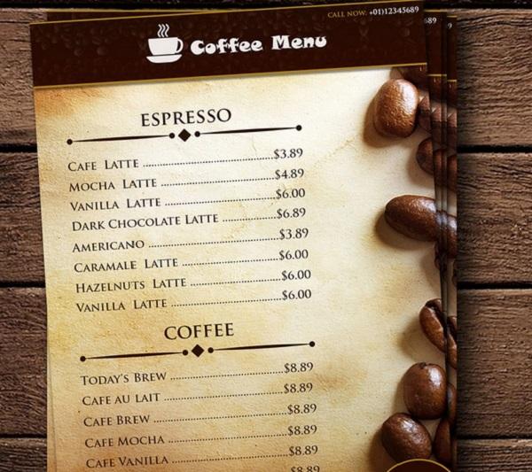 mẫu menu quán cà phê ấn tượng