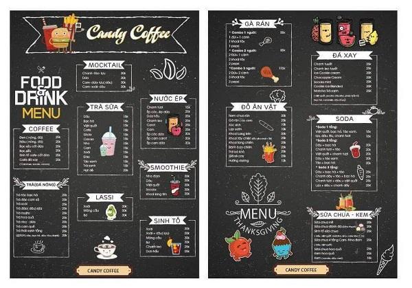 mẫu menu quán cà phê rẻ