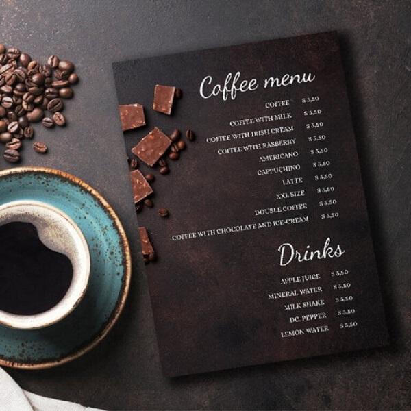 kích thước menu quán cafe chất lượng