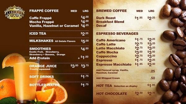 mẫu menu quán cafe đẹp mắt