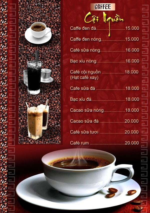 mẫu menu quán cafe bình dân