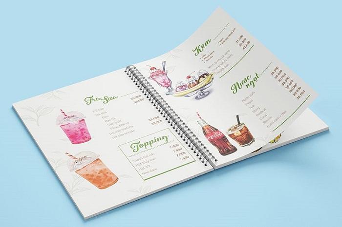kích thước menu bìa nhựa