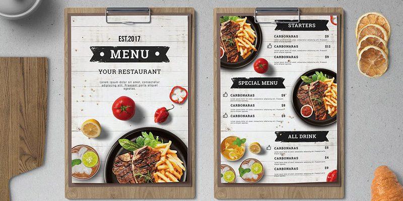 kích thước menu đặc biệt